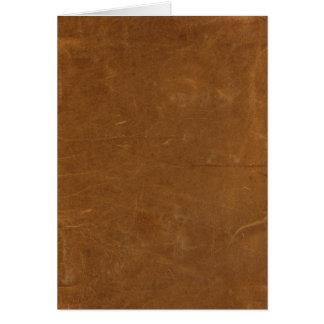 Tan Faux Leather Greeting Card