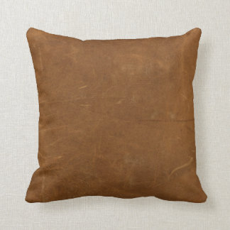 Tan Faux Leather Throw Pillow