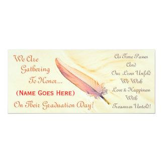 Tan Feather Graduation Invitation