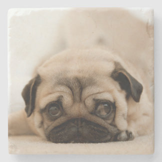 Tan Female Pug Stone Coaster