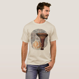 Tan Floral Motif T-Shirt