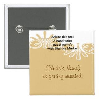 Tan Floral Wedding Bridal Shower Name Pins