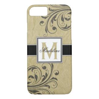 Tan Flourish Personalized Monongram iPhone 8/7 Case
