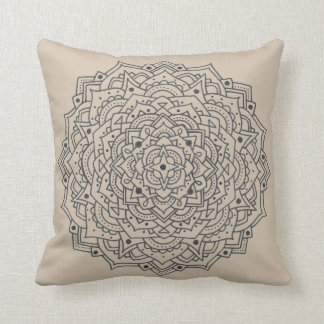 Tan Flower Mandala Throw Pillow