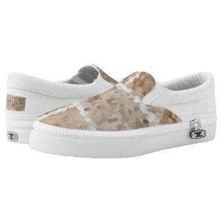 Tan Geometric Slip-On Shoes