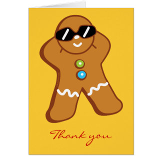 """Tan Gingerbread Man"" Thank You Card"