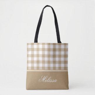 Tan Gingham | Personalized Tote Bag