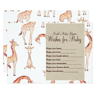 Tan Giraffes & Kraft Wishes for Baby Shower Game Card
