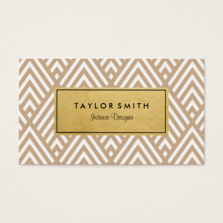 Tan & Gold Chevron Pattern Business Card