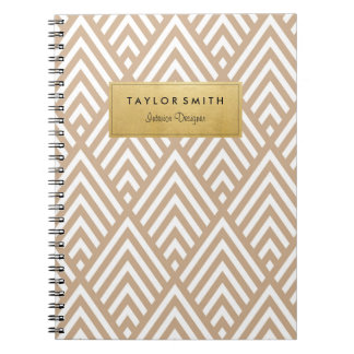 Tan & Gold Chevron Pattern Notebook