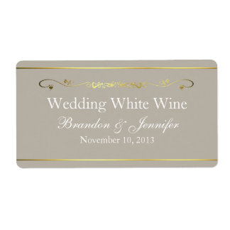 Tan & Gold Custom Wedding Mini Wine Labels