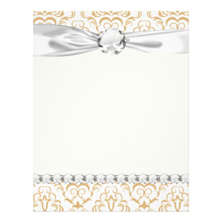 tan gold on white ornate damask pattern 21.5 cm x 28 cm flyer