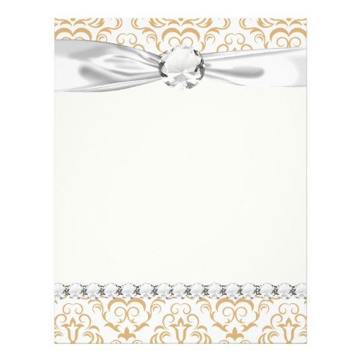 tan gold on white ornate damask pattern custom flyer