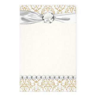 tan gold on white ornate damask pattern stationery