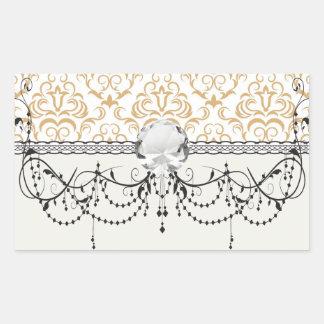 tan gold on white ornate damask pattern rectangle stickers