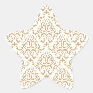 tan gold on white ornate damask pattern star stickers