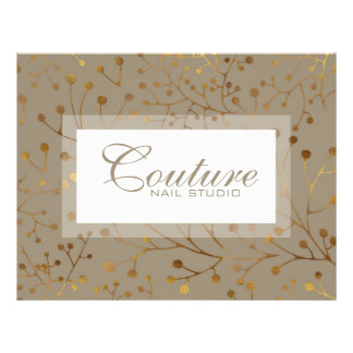 Tan & Gold Tree Branches Seamless Pattern 21.5 Cm X 28 Cm Flyer