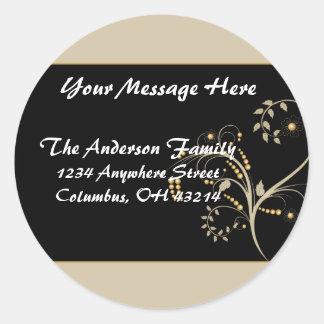 Tan & Gold Vine Design Return Address Labels Round Sticker