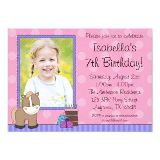 Tan Horse Pink Polka Dots Photo Birthday Party 13 Cm X 18 Cm Invitation Card
