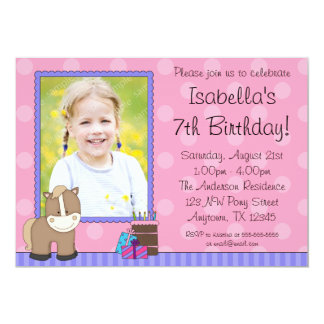 Tan Horse Pink Polka Dots Photo Birthday Party Card