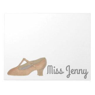 Tan Jazz Character Shoe Dance Teacher Notepad
