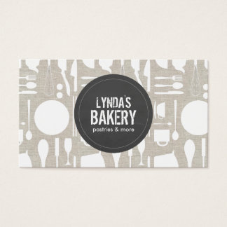 Tan Kitchen Collage with Rustic Gray Logo Bakery Business Card