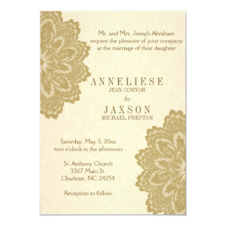 Tan Lace Wedding Invitation | Zazzle