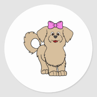 Tan Maltese with Pink Bow Round Sticker