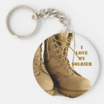 tan military boots keyhain basic round button key ring