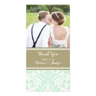 Tan Mint Damask Thank You Wedding Photo Cards