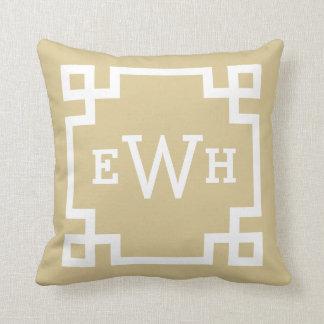 Tan Monogram | Greek Key Cushion