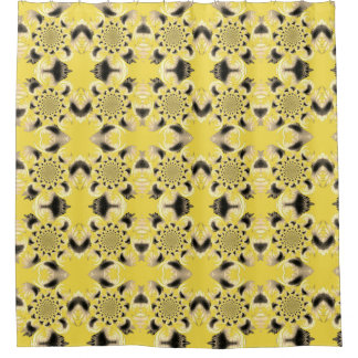 Tan Morphed Sunflower accent Yellow Shower Curtain