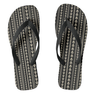Tan-on-Black Paw Print Stripe Flip-Flops Flip Flops
