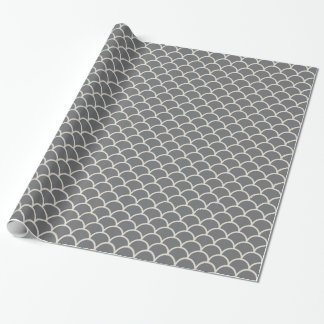 Tan on Grey Scallop Gift Wrapping Paper