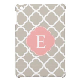 Tan Peach Pink Quatrefoil Monogram iPad Mini Cover