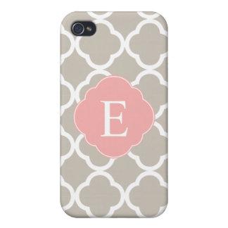 Tan Peach Pink Quatrefoil Monogram iPhone 4/4S Cover