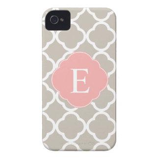 Tan Peach Pink Quatrefoil Monogram iPhone 4 Case-Mate Cases