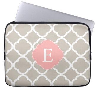 Tan Peach Pink Quatrefoil Monogram Laptop Computer Sleeve