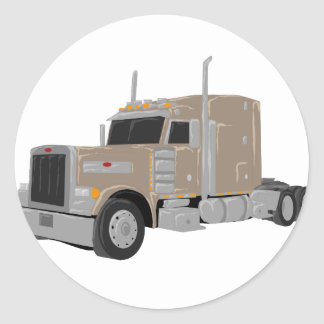 tan peter built truck round sticker