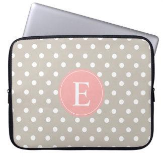 Tan Polka Dot Peach Monogram Laptop Sleeve