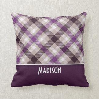 Tan & Purple Plaid Cushion