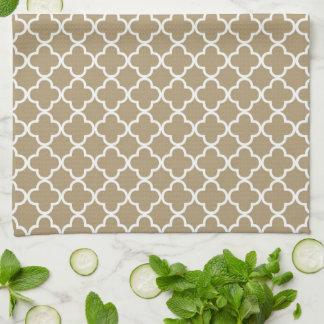 Tan Quatrefoil Clover Pattern Tea Towel