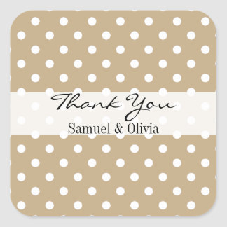 Tan Sand Square Custom Polka Dotted Thank You Square Sticker