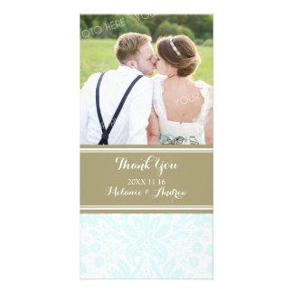 Tan Sky Damask Thank You Wedding Photo Cards