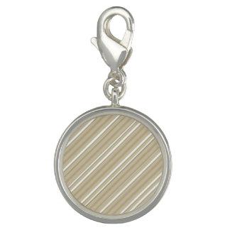 Tan Stripe Round Charm