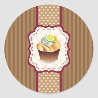 Tan Stripes Lime Cupcake Round Sticker