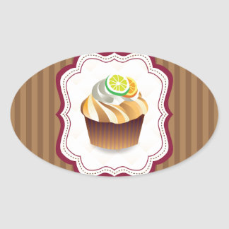 Tan Stripes Lime Cupcake Oval Sticker