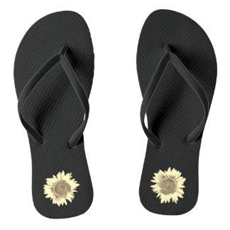 Tan Sunflower on Black Flip Flops