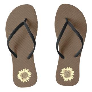 Tan Sunflower on dark brown Flip Flops