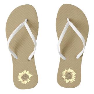 Tan Sunflower on Flip Flops